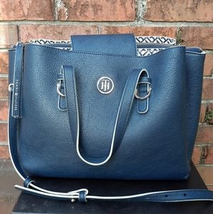 Tommy Hilfiger Navy Leather Shoulder Handbag